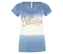 T-Shirt 'Believe' creme / himmelblau