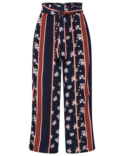 Hose 'flowing culotte' navy / weinrot