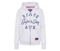 Sweatshirtjacke blau / hellgrau / weiß