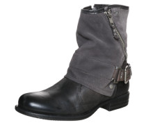 Biker Boot mit Materialmix grau