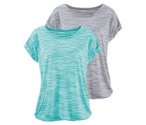 T-Shirts graumeliert / türkis