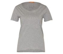 Shirt mit Typo-Print kupfer / grau