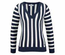 V-Ausschnitt-Pullover navy / weiß