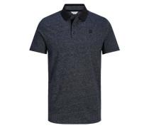 Melange-Poloshirt dunkelblau