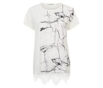 T-Shirt im Materialmix weiß