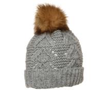 Mütze mit Bommel grau