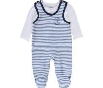 Baby Set Strampler + Langarmshirt für Jungen blau / dunkelblau / weiß
