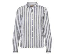 Langärmiges Hemd blaumeliert / weiß