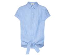 Bluse hellblau / dunkelorange / weiß