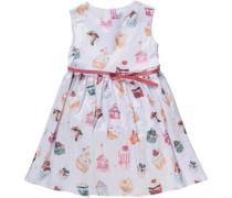 Kinder Kleid mit Gürtel rosa / weiß