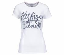 T-Shirt mit Label-Print weiß