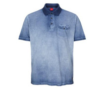 Poloshirt in Cold Pigment Dye blau