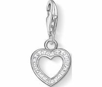 Charm-Einhänger 'Herz 0930-051-14' silber / weiß