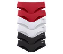 Hipster-Panty (6 Stck.) rot / schwarz / weiß