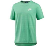T-Shirt Herren türkis / weiß