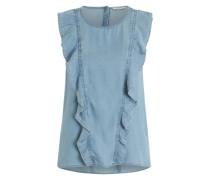 Ärmellose Rüschen-Bluse blau