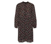 Kleid mit Blütenprint grün / rotviolett / schwarz / naturweiß