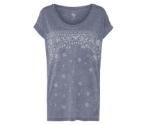 Printshirt 'All Night' taubenblau