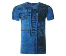 T-Shirt mit Skull All Over Print blau