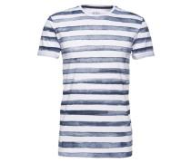 T-Shirt 'Painted Stripes' weiß / dunkelblau
