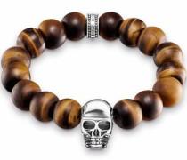 Armband 'Totenkopf' braun / silber