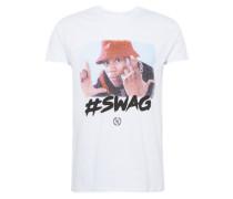 Shirt 'swag TEE Crew R-Neck' mischfarben / weiß