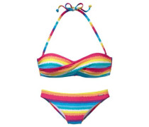 Bandeau-Bikini blau / gelb / orange / rot