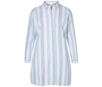 Langärmeliges Hemd rauchblau / weiß