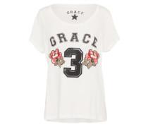 T-Shirt 'Flowers 3' mischfarben / offwhite