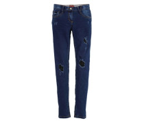 Skinny Suri: Destroyed-Jeans blau