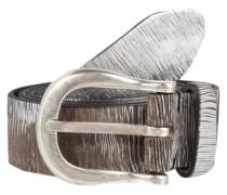 Ledergürtel im Metallic-Look braun / silber