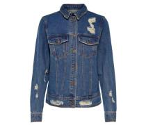 Stickerei-Jeansjacke blau