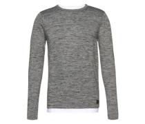 Grauer Feinstrick-Pullover grau