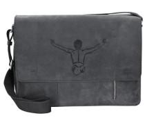 'Valencia Vintage' Messenger Tasche mit Laptopfach 40cm anthrazit / schwarz