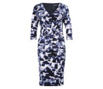 Kleid in Wickeloptik blau / mischfarben
