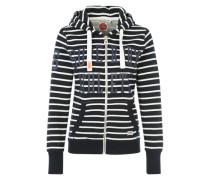 Sweatjacke 'Athletic stripe' navy / weiß