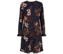 Kleid Blumen- dunkelblau / khaki / rosa / weinrot