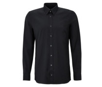 Slim: Langärmliges Stretch-Hemd schwarz