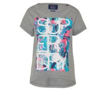 T-Shirt 'Hibiscus' graumeliert / mischfarben