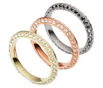Schmuckset: Ringe mit Glassteinen (Set 3tlg.) gold / silber