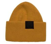 Dicke locker gestrickte Woll-Mütze gelb