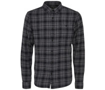 Langarmhemd Slim fit grau / schwarz