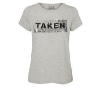 Bedrucktes T-Shirt grau / schwarz