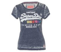 T-Shirt 'Burnout Tee' dunkelblau / mischfarben / weiß
