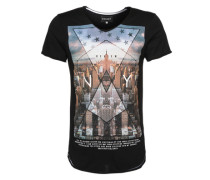 T-shirt 'vneck Photo City' schwarz