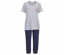 Capri-Pyjama im Marine-Look