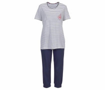 Capri-Pyjama im Marine-Look marine / weiß