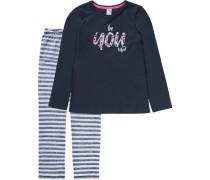 Schlafanzug für Mädchen dunkelblau / weiß