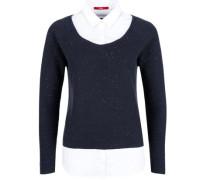 Pullover im 2-in-1-Look nachtblau / weiß