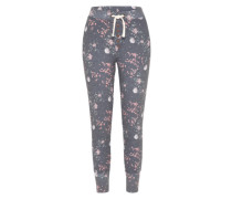 Sweathose 'flower Pants' grau / rosa